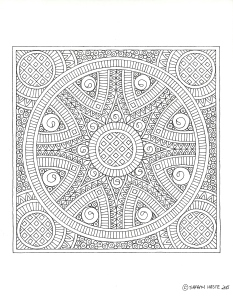 Red Tile Mandala Line Drawing