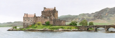 """Eilean Donan Castle"" (miniature painting 5.25 x 1.75 inches small)"