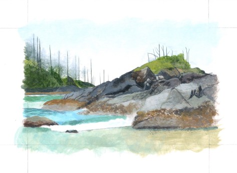 2. Developing distant shoreline and shaping areas with texture and colour