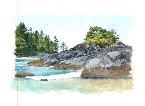 4. Working in some detail and building up the water and rocks