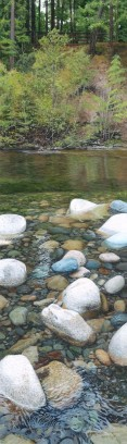 """River Rocks"" (miniature Painting 5.25 x 1.5 inches small)"