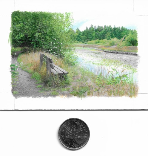 A Good Place to Sit (2.25 x 3.5 inches) with coin