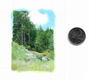 Forest Meadow (3 x 2 inches), acrylic on art board, with coin for scale.