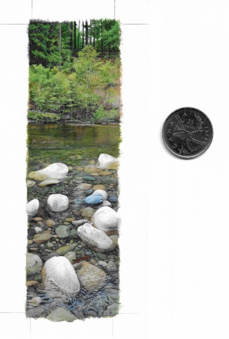 Englishman River (5.25 x 1.5 inches) with coin for scale. Acrylic on art board.