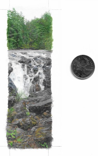 Englishman River Falls (5.25 x 1.5 inches), with coin for scale. Acrylic on artboard.